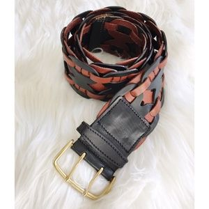 Linea Pelle black and tan leather 2 prong belt